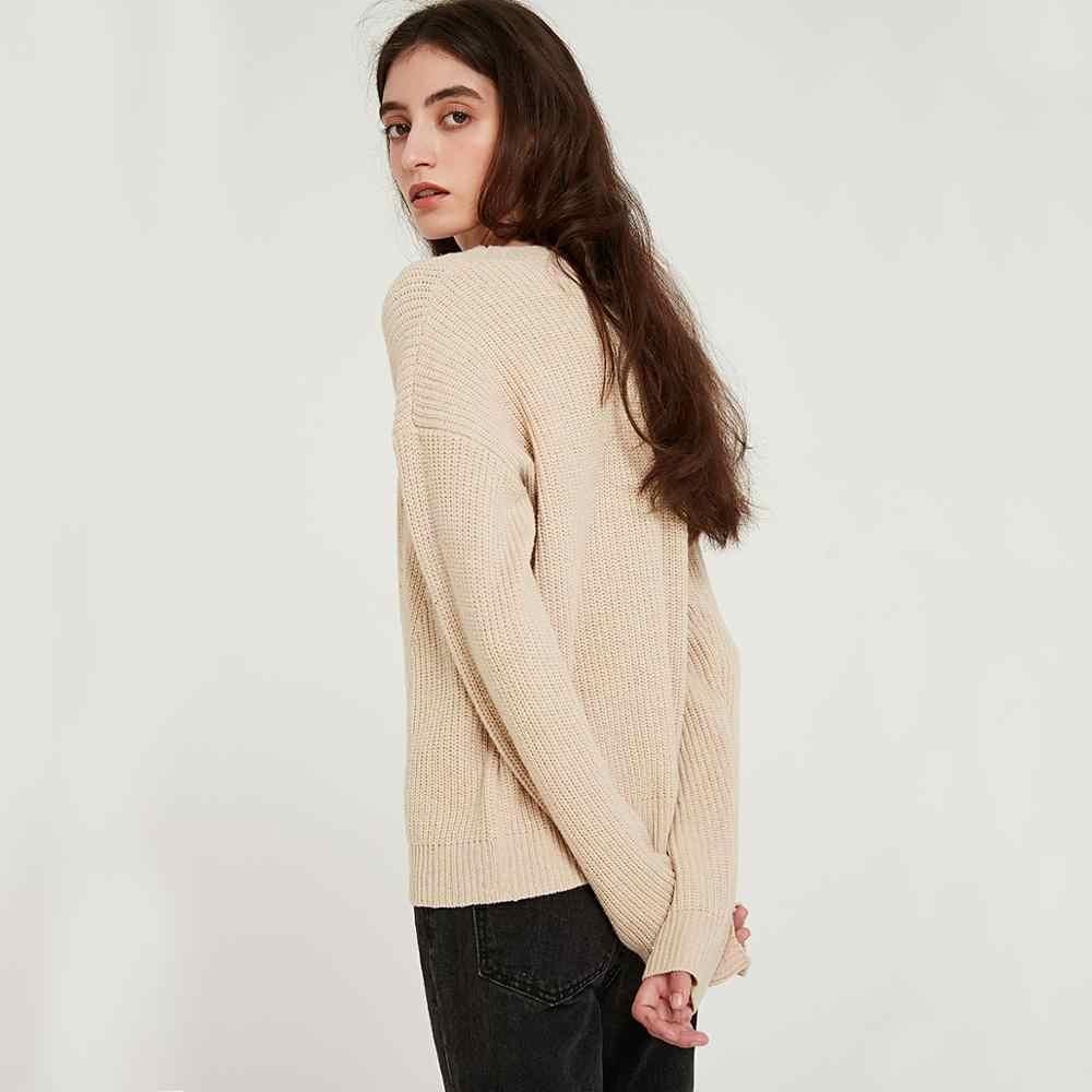 Wixra suéteres y Pullovers informales para mujer 2019 Otoño Invierno suelto cuello redondo sólido ahuecado suéter de punto