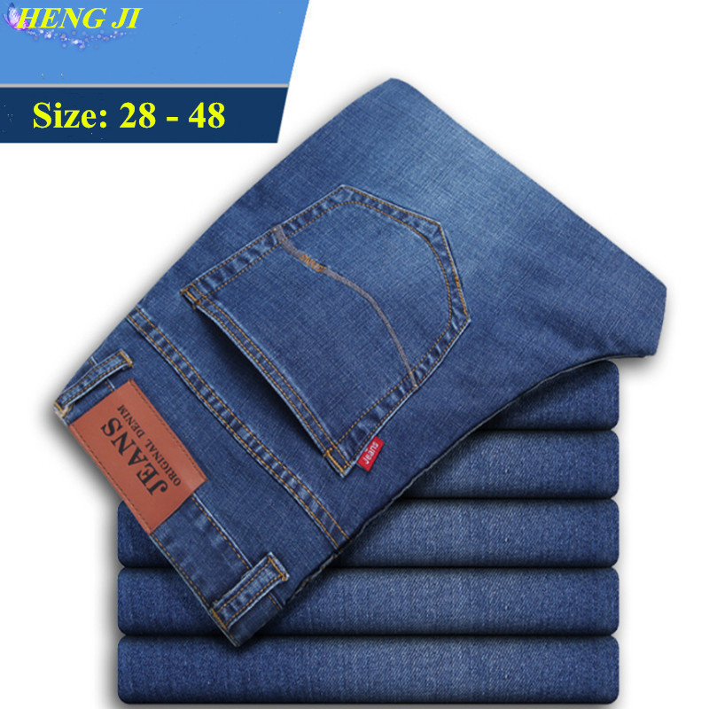 2018 mens straight leg jeans, loose, large size 48, high waist stretch jeans, water wash, cat beard, high quality,free shippin