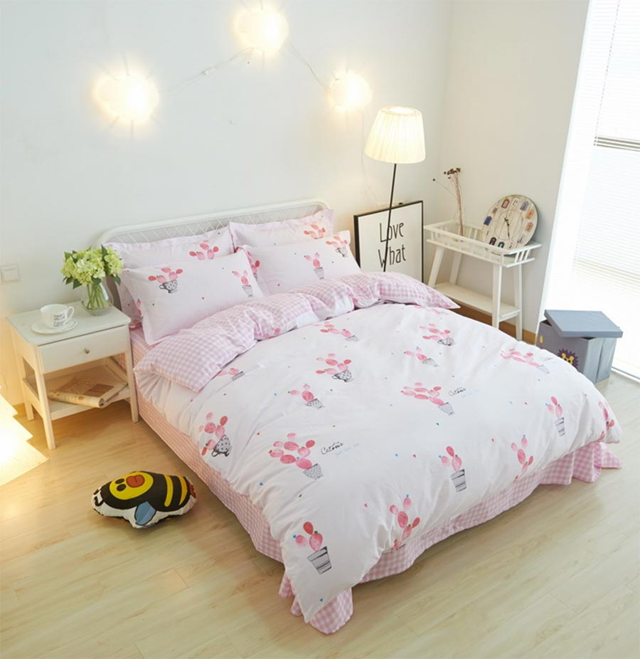 Twin bedding sets for teenage girls - Character Bedding Set Adult Teen Girl Cotton Twin Full Queen King Cartoon Cactus Home Textiles Bed Sheet Pillow Case Duvet Cover