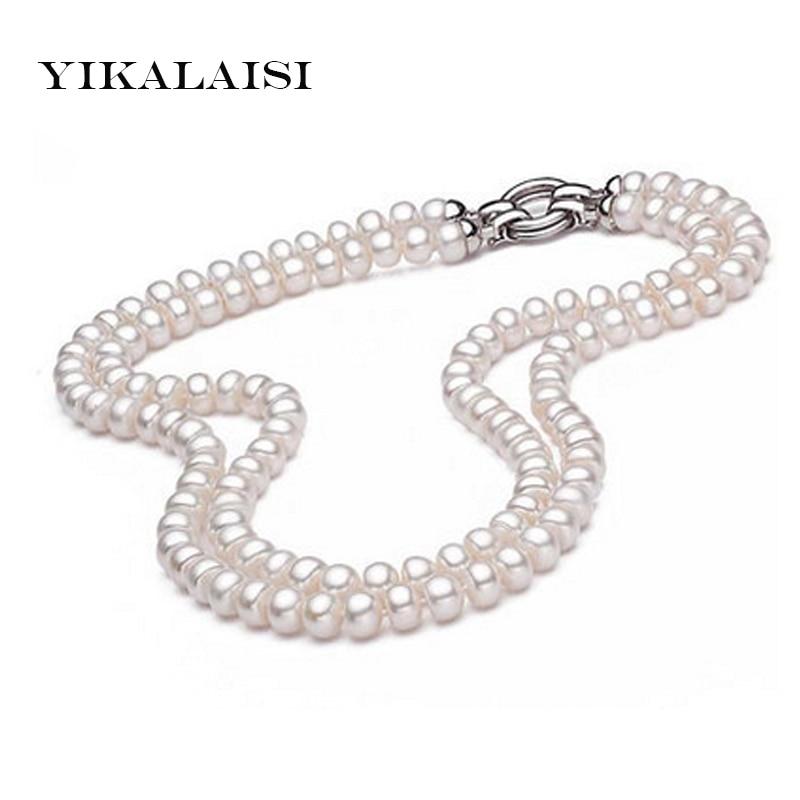 YIKALAISI 2017 100% Véritable Naturel d'eau douce collier de perles pour les femmes 925 Bijoux en argent sterling 8-9mm perle meilleur cadeaux