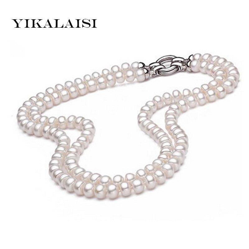 YIKALAISI 925 bijoux en argent sterling collier de perles d'eau douce naturelle pour les femmes 8-9mm perle meilleurs cadeaux
