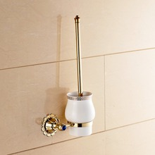 Gold Brass Wall Mounted Bathroom Toilet Brushed Holder Brush Cup Holder