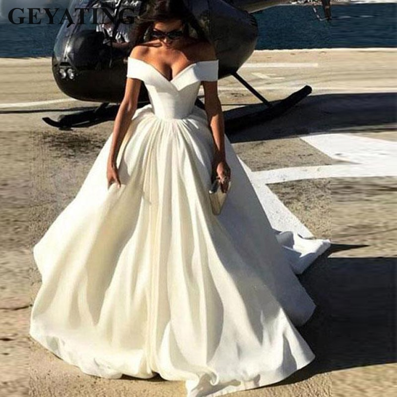 New Arrival 2019 Off Shoulder White Satin Wedding Dress