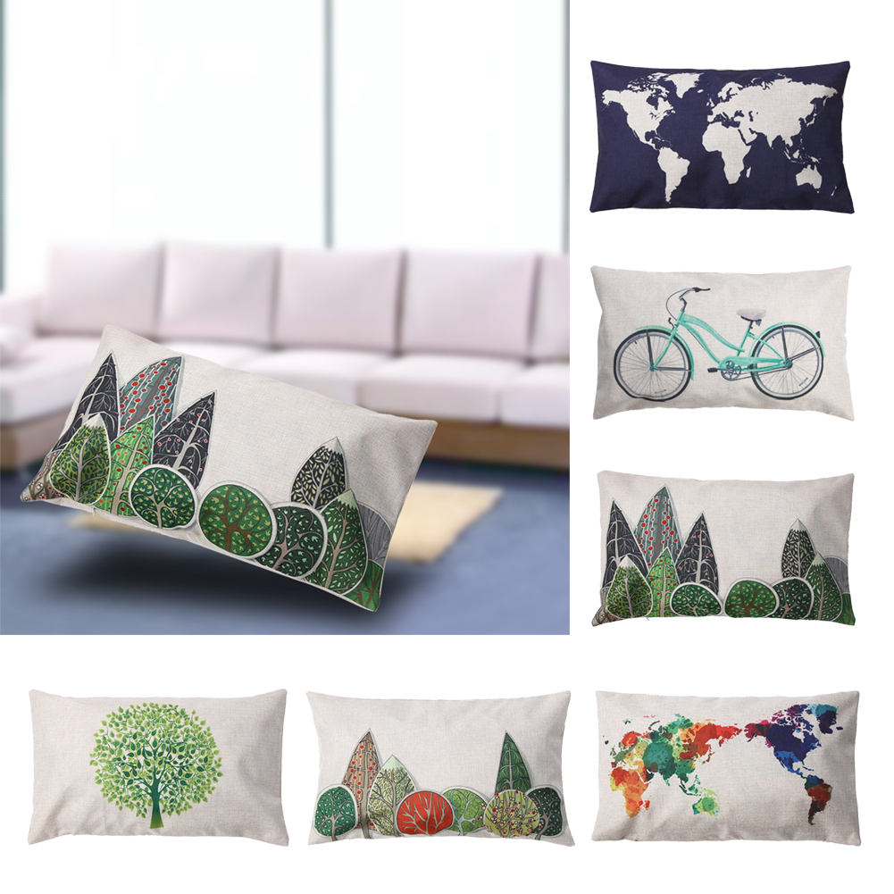 50*30cm Decorative Throw Pillows World Map Geometric Printed Colorful Cotton Linen Pillow Cover For Home Pillowcase In Stock