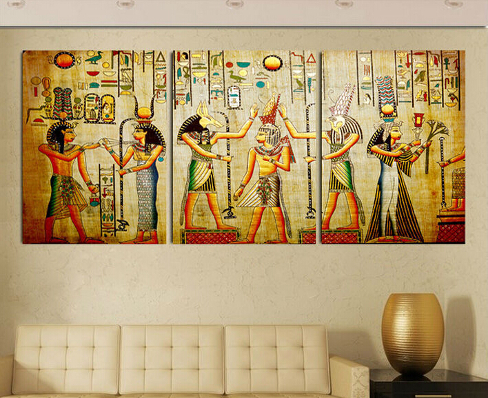 Free shipping triple abstract no frame picture egyptian for Decorative mural painting