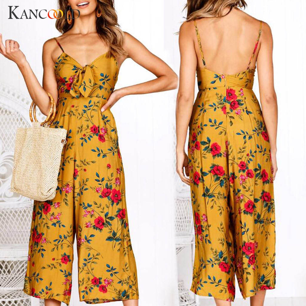 KANCOOLD   Jumpsuit   Women V-Neck Camisole Backless Bow Floral Print Long Playsuit Ladies fashion Summer new   jumpsuit   sexy 2019JAN4