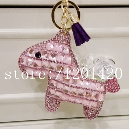 Clave caballo cadena linda cristalina del cuero de caballo tossel llave del coche del anillo mujeres creadoras del encanto del bolso colgante bug