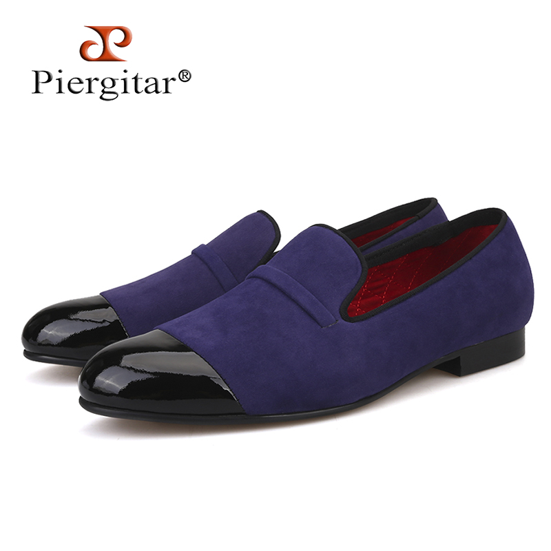 2018 New style Handcraft men velvet shoes with black patent leather toe High-grade Party Prom and Banquet Men's Loafers piergitar new arrival men black velvet shoes with black patent leather toe rivets prom and party men dress shoes male s loafers