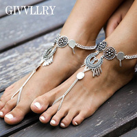 GIVVLLRY Gypsy Barefoot Anklets for Women Bohemian Yoga Ethnic Carving Foot Bracelet Vintage Statement Bridal Coin Foot Jewelry