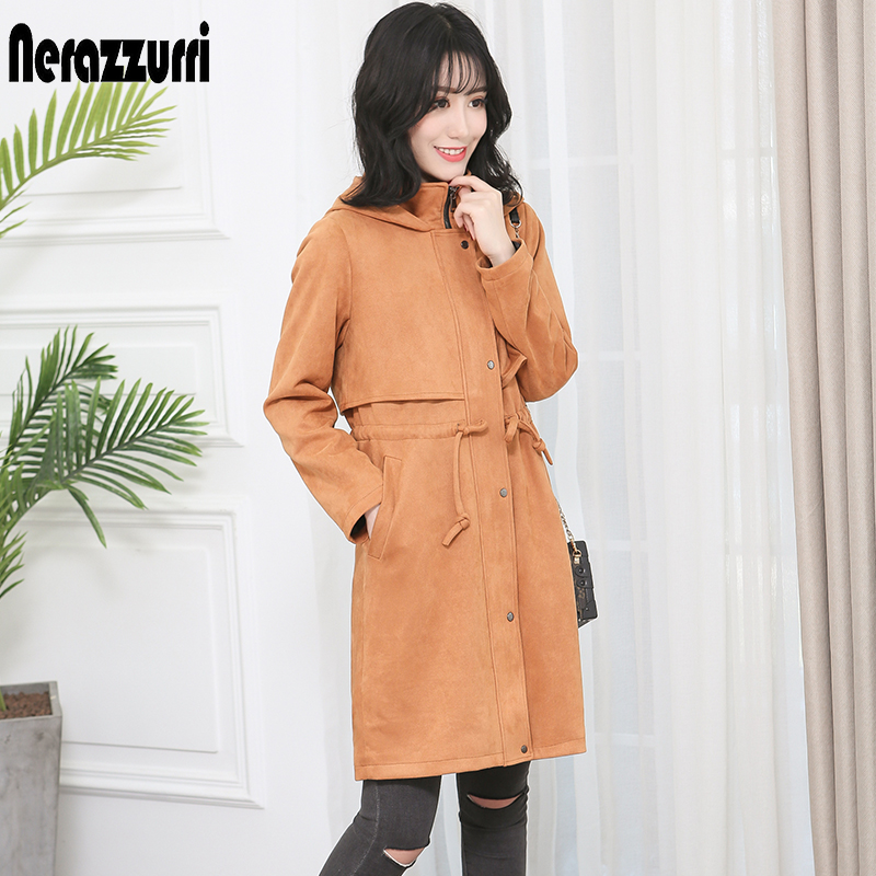 Nerazzurri long suede leather   trench   coat for women black brown with hood windbreaker female spring plus size fashions 6xl 7xl