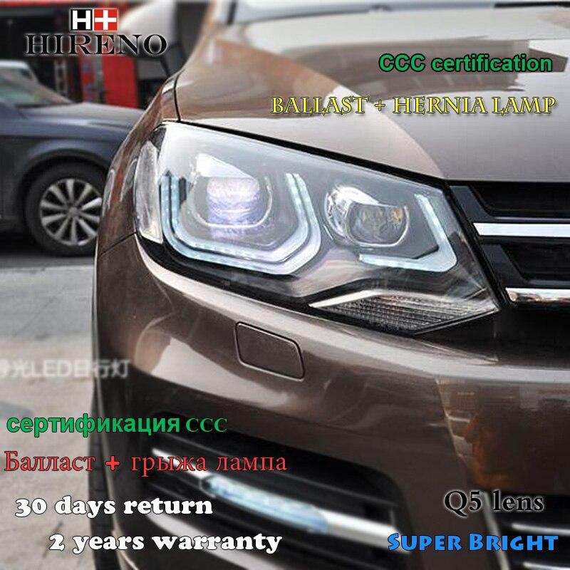Hireno Headlamp for 2011-2013 Volkswagen Touareg Headlight Assembly LED DRL Angel Lens Double Beam HID Xenon 2pcs hireno headlamp for subaru impreza wrx sti headlight assembly led drl angel lens double beam hid xenon 2pcs