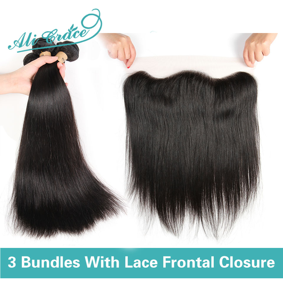 Lace Frontal Closure With Bundles 8A Brazilian Virgin Hair With Closure Straight Hair Ear To Ear