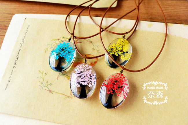 HTB1O0o7QXXXXXaaaXXXq6xXFXXXL - Handmade Natural Dry Flowers Life Tree Long Necklaces & Pendants