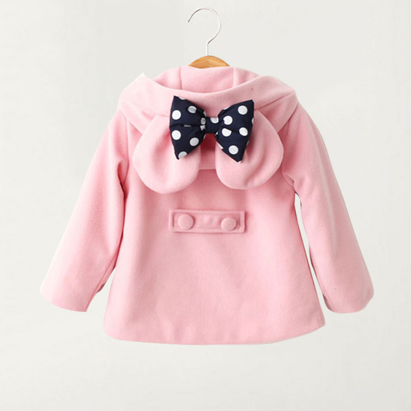 Cute Baby Girls Jacket 2018 Kids Girl Winter Parkas Warm Clothes Cartoon Bow Toddler Outerwear Hooded Coat Children Jackets D63 bow back hooded jacket