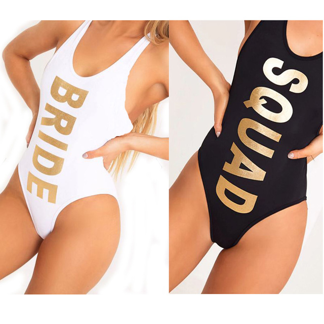 a6cd021450 New Letter BRIDE SQUAD Swimwear Women One Piece Swimsuit Sexy Bodysuit  Swimming Suit High Cut Low Back bikinis monokini Wedding