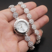 Double Chain Watch Shiny Floral Bracelet 14'' Women Wristwatch 7'' Unique Beauty LOVE GIFT Quartz Watches