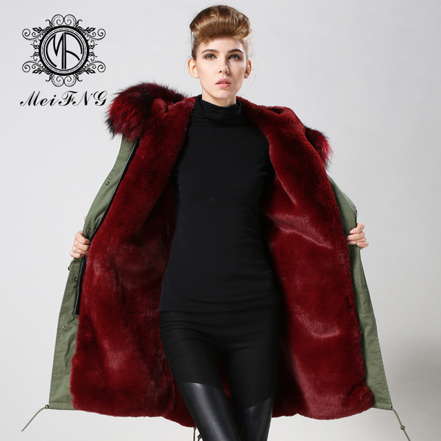 Rosso Casuali Vino Fur Faux Donne Parka Lined di giacca 2017 Inverno RZwzpxIwq