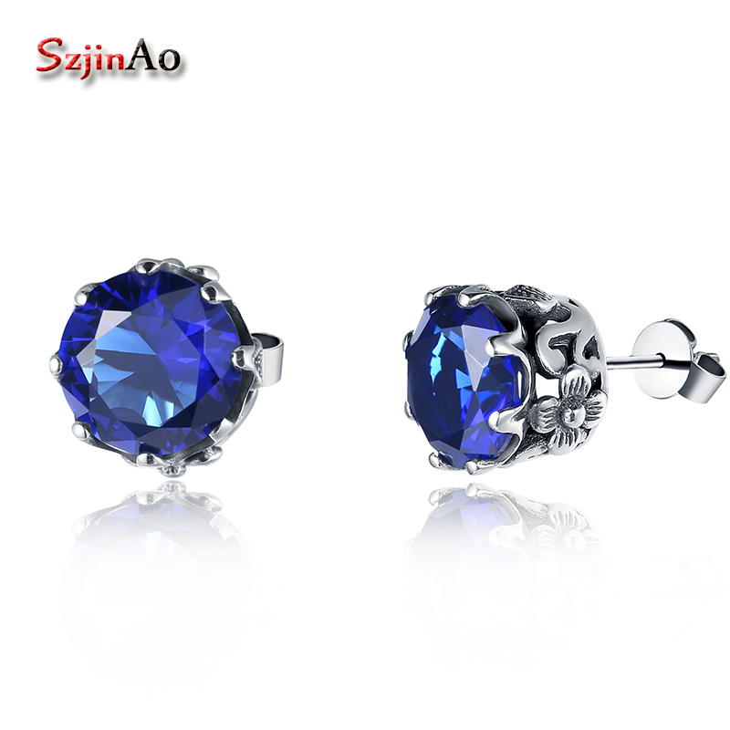 Szjinao 100% 925 Sterling Silver Earrings Fine Jewelry Wedding Earrings for Bride with Sapphire Earrings for Women Brincos цены онлайн