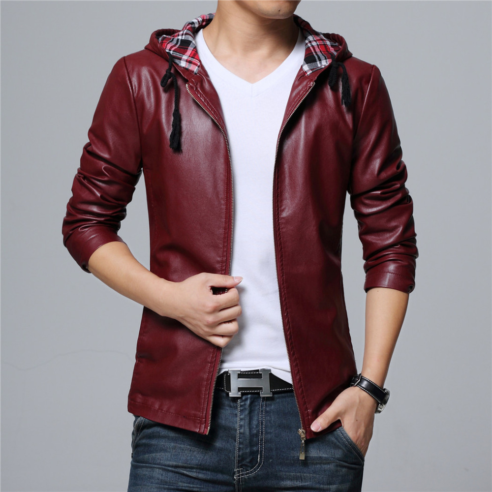 New mens faux leather jackets hoody coat black wine red big size 5XL drop shipping high quality Male plus coats mens clothing free shipping brand a2 style leather clothing plus size man s 100% genuine leather jackets classics mens engraved jacket quality