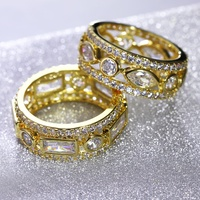 Luxurious Jewelry Wedding Engagement Accessories Platinum 18K Gold PlatedWomen Rings For Party New 2017 Size 5