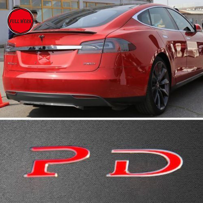 1 pack tesla red word pd custom emblem sticker badge for tesla model s p85d p70d 2012 2016 in car stickers from automobiles motorcycles on