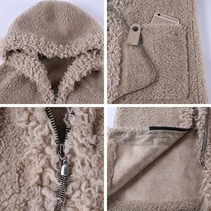 Image 5 - JEPLUDA Neue Stil Echt Pelzmantel Frauen Winter Lange Zipper Mit Kapuze Natürliche Wolle Blends Schafe Pelz Mantel Frauen Warme Echt pelz Jacke