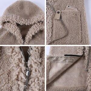 Image 5 - JEPLUDA חדש סגנון אמיתי פרווה מעיל נשים החורף ארוך רוכסן ברדס טבעי תערובות צמר כבשים פרווה מעיל נשים חם אמיתי פרווה מעיל