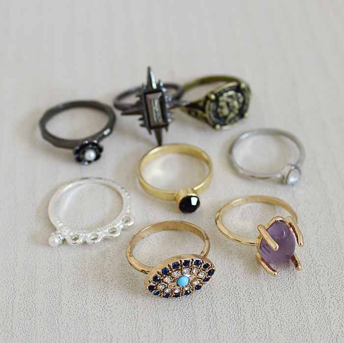Mixed 8 Rings for Women Gold Silver Black Spike Eye Cross Pearl Flower Stone Crown Cameo Midi Finger Ring SET Fashion Jewelry
