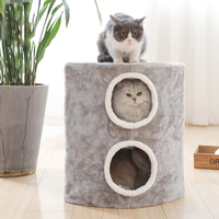 Detachable Cat Scratcher Furniture Double Layer Cats Play Climbing Sleeping House With Hanging Toy Cat Jumping Standing Supplies