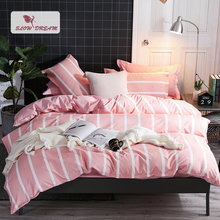 SlowDream Pink White Geometry Striped Bedding Set Double Queen Adult Single Student Size Duvet Cover Bed Linens Sheet