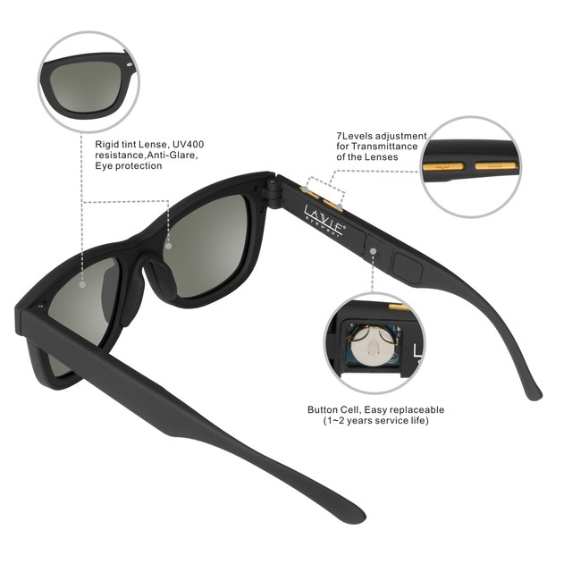 7a88221fae Sunglasses with Variable Electronic Tint Control Sunglasses Men Polarized  Sunglasses for Women Travelling Driving Shopping Party