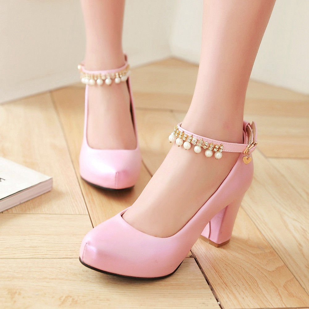 2017 Chunky High Heeled Pink Bridal Wedding Shoes Beaded White Female Buckle Elegant Pumps Silver Gold30