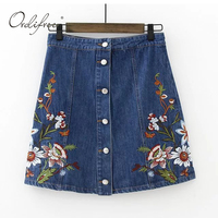 Ordifree 2017 Spring Summer Women Mini Short Floral Embroidered Skirt High Waist Blue Jeans Flower Embroidery
