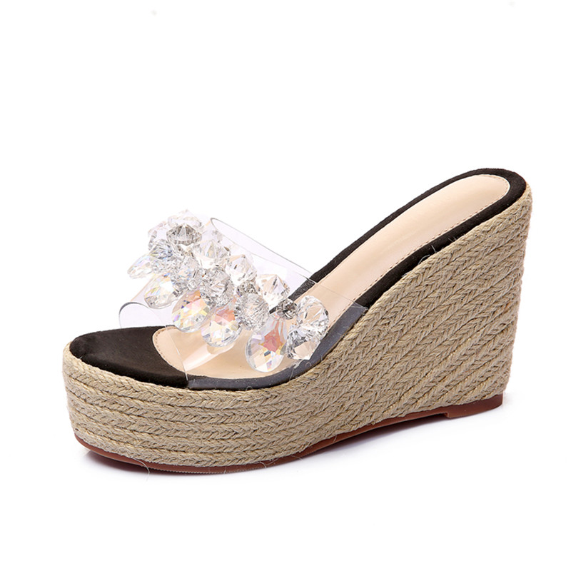 New Summer Sandals Women Peep Toe High Heels Sandals With Crystal Casual Slides1