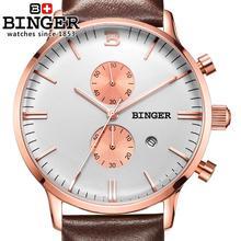 Switzerland men's watch luxury brand Wristwatches BINGER Quartz clock glowwatch leather strap Chronograph Diver B1122-6