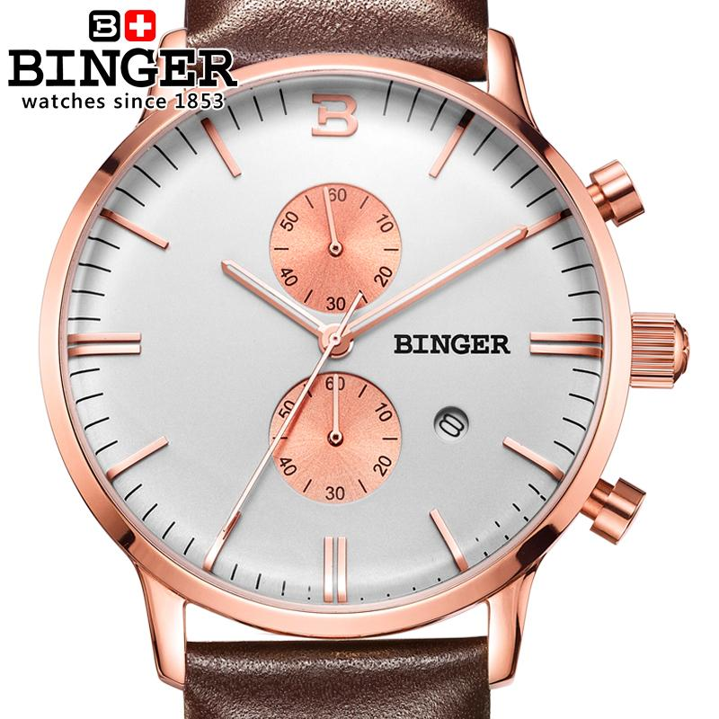 Switzerland men's watch luxury brand Wristwatches BINGER Quartz clock glowwatch leather strap Chronograph Diver B1122-6 switzerland relogio masculino luxury brand wristwatches binger quartz full stainless steel chronograph diver clock bg 0407 3