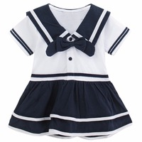 Baby Girls Dress Navy Style Bodysuit Infant Short Sleeve Sailor One Piece Baby Girl Princess Party