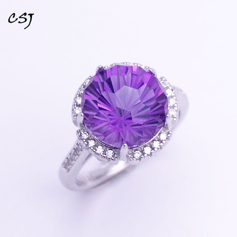 CSJ Natural Amethyst Rings Sterling 925 Silver Round Fireworks Cut Fine Jewelry Women Femme Wedding Engagement Party GiftCSJ Natural Amethyst Rings Sterling 925 Silver Round Fireworks Cut Fine Jewelry Women Femme Wedding Engagement Party Gift