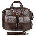 100% Натуральная Кожа мужская Браун Портфель Для Ноутбука Мешок Верхнюю Ручку Сумки Busiess Мешок 7219C