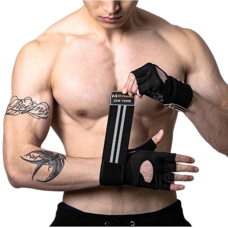 Fitness gym glove men & women anti-deslizamento silicone aperto acolchoado levantamento de peso luvas com envoltório de pulso crossfit treino musculação