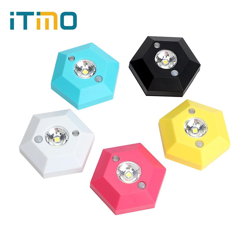 ITimo LED Motion Sensor Hexagonal High Brightness Human Body Induction Wall Lamp PIR Corridor Kitchen Cabinet Night Light