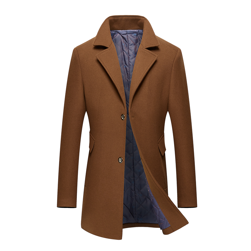 MarKyi fashion winter long   trench   coat men good quality mens cashmere coat single button wool coat men
