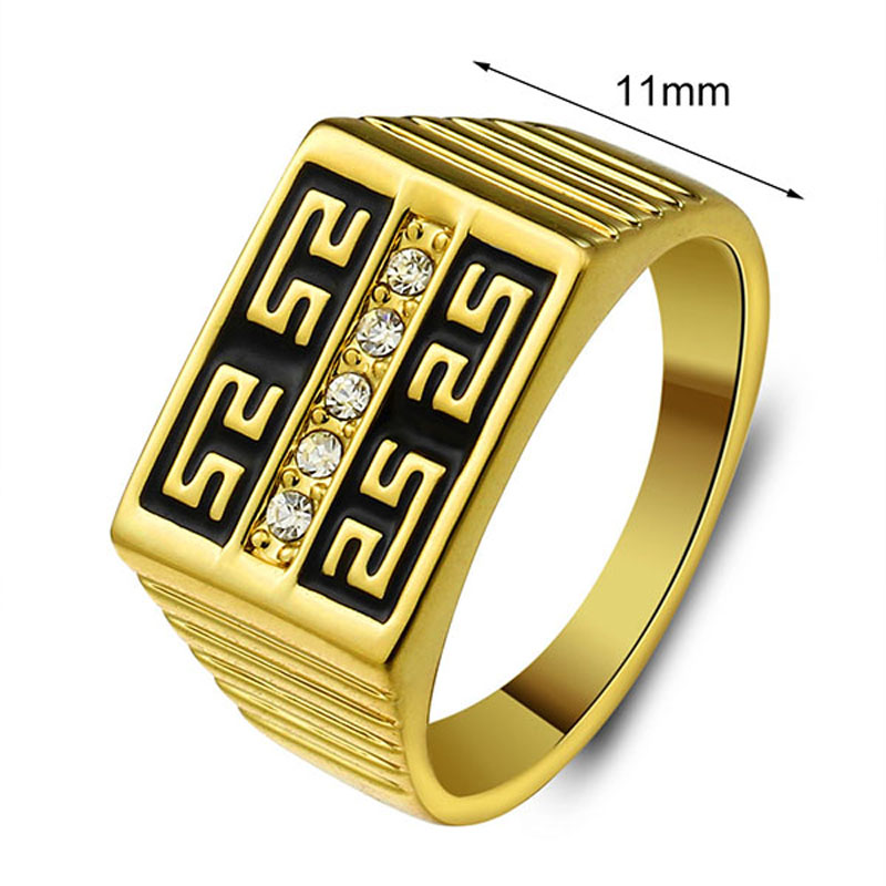Classic Men Jewelry 2016 Ring Gold Rings Gold Jewelry Rhinestone CZ ...