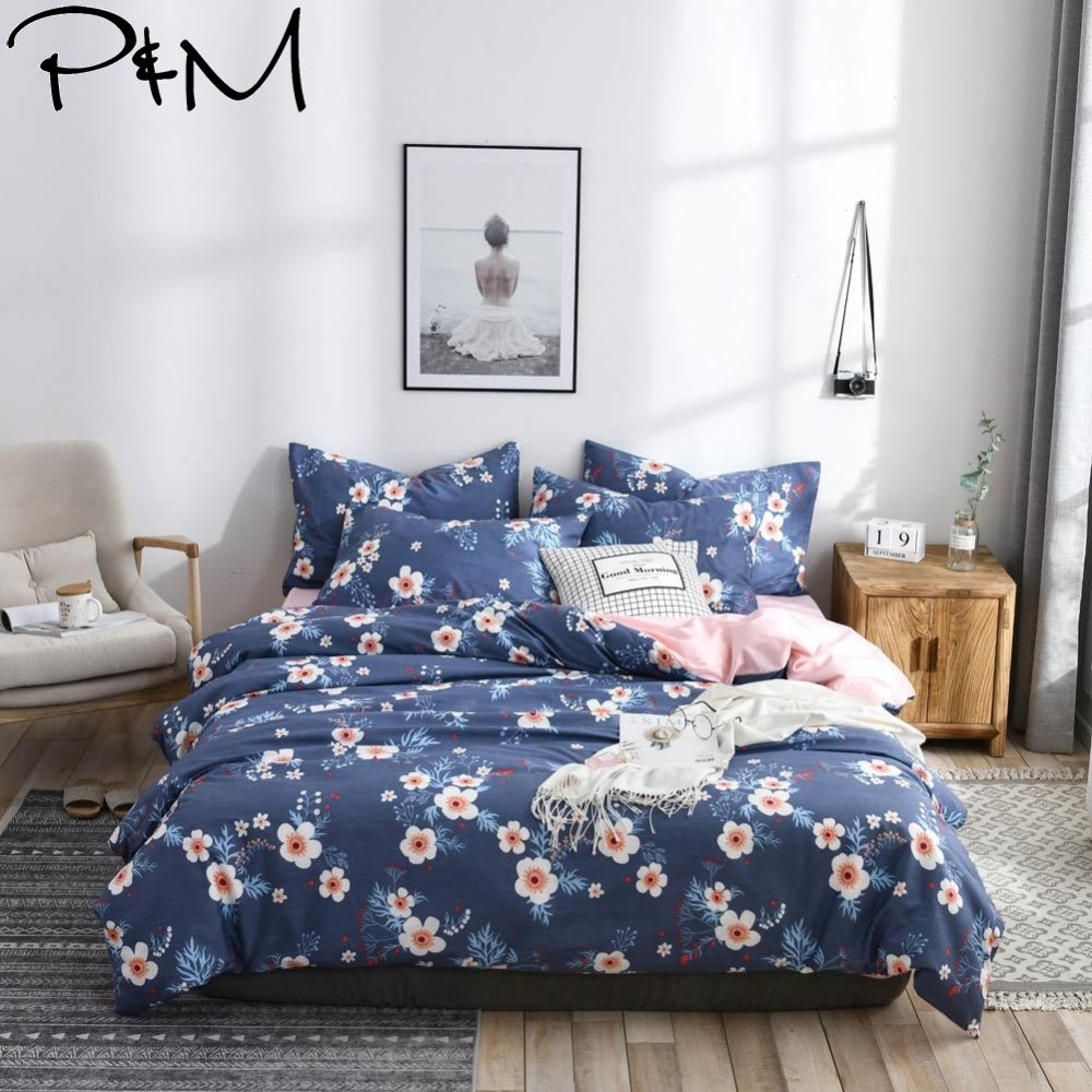 Home Textile Power Source 2019 Papa&mima Blue White Flowers Bedlinens Twin Queen King Duvet Cover Set 2/3pcs Cotton Fabric Bedding Pillowcases Providing Amenities For The People; Making Life Easier For The Population