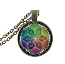 ФОТО flower of life pendant necklace b&m 2016 new fashion round glass necklace flower of life necklaces pendants vintage