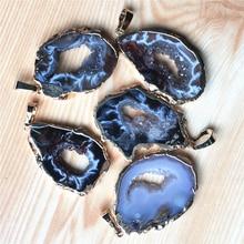 บราซิลทอง Electroplated สีขอบ Slice เปิด Agates Geode Drusy Druzys จี้สำหรับสร้อยคอผู้หญิงเครื่องประดับ