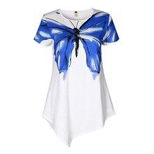 Summer Fashion Women White Blouses Shirts Women Print Butterfly Blusas Irregular Hem Tunic Female Tops 2017 Beach Wear LJ9616M