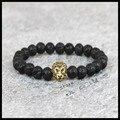 1pcs beaded gold lion leo men beads bracelet natural 8mm Lava Energy stone mix color different beads women charms bracelet