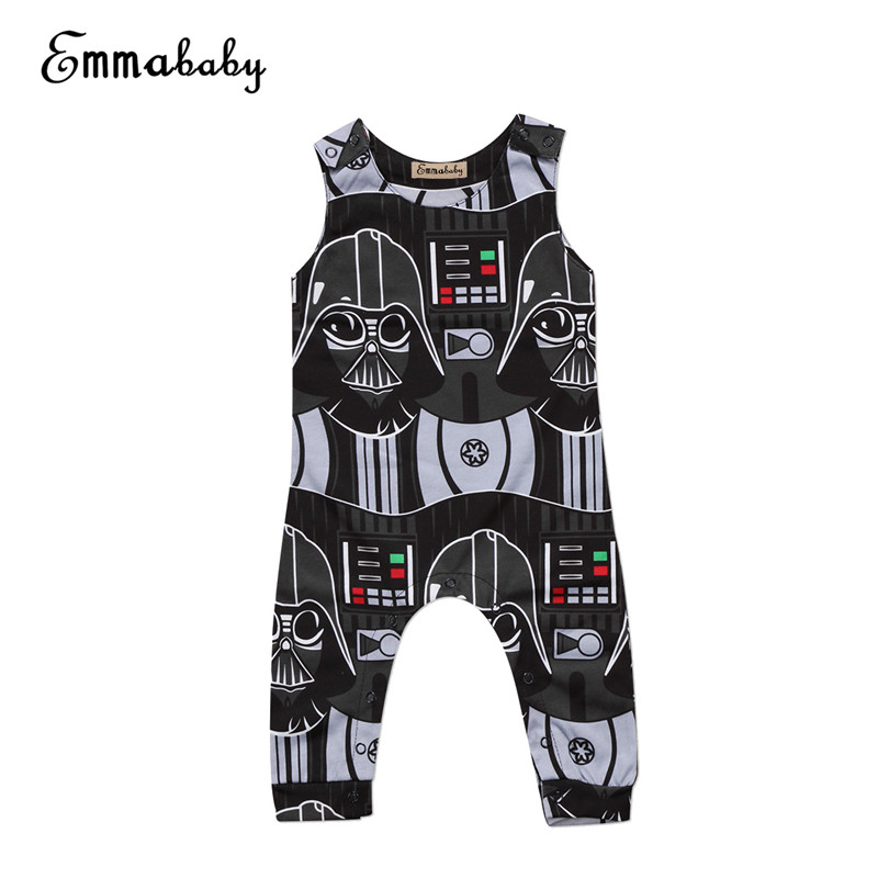 Newborn Baby Boy Bodysuit 2018 New Summer Toddler Kids Boys Star Wars Bodysuit Sleeveless Jumpsuit Casual Baby Clothes Outfits star wars boys black