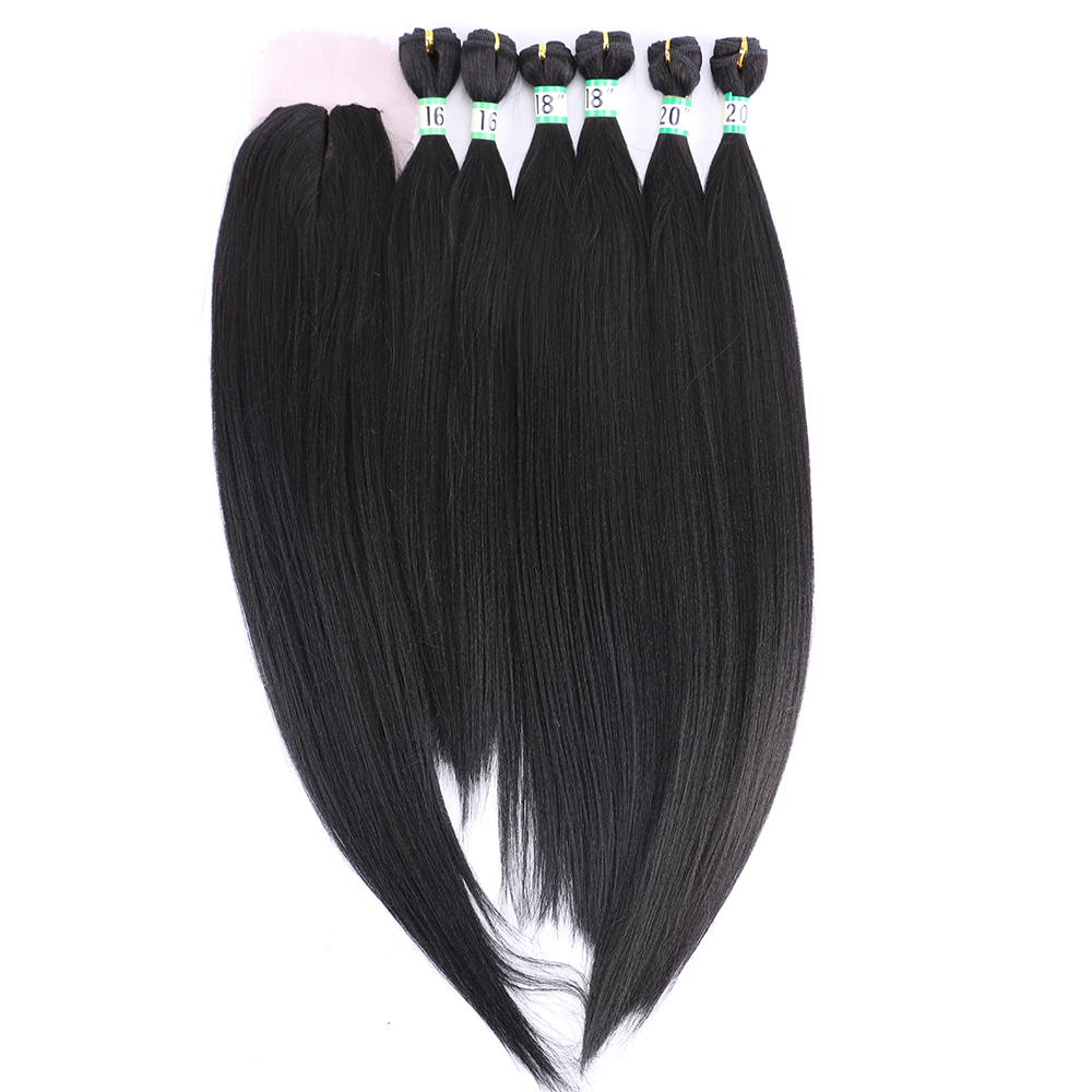 Yaki Straight High Temperature Synthetic Hair bundles with closure hair extensions product(China)